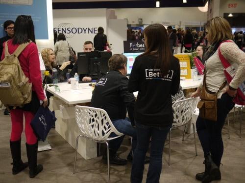 busy tradeshow floor
