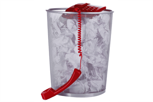 telephone in a trashcan