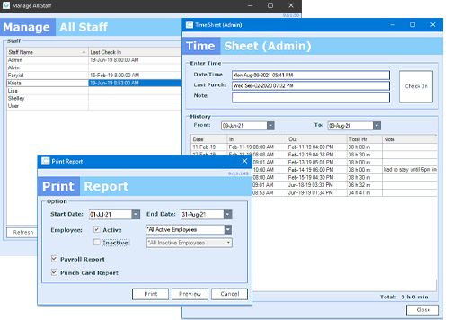Three windows in ClearDent's software showing staff management system and time sheet