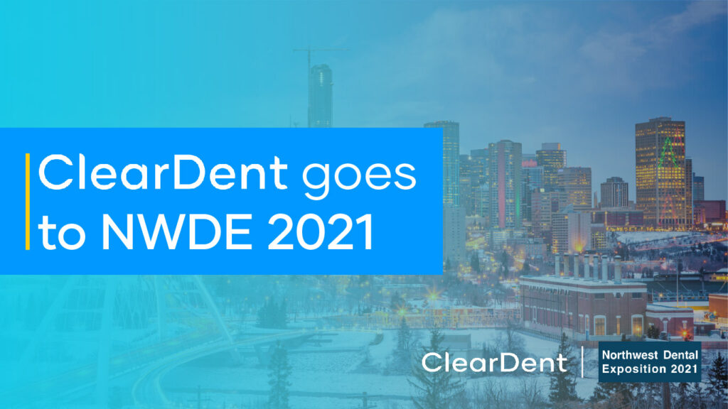"""A cityscape of Edmonton with a blue gradient and text overlay """"ClearDent goes to NWDE 2021"""""""