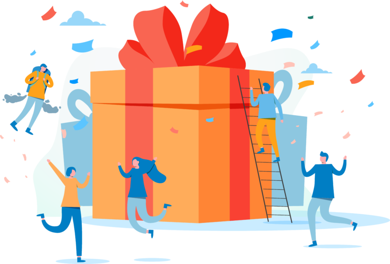 Illustration of a group of happy people receiving a giveaway box